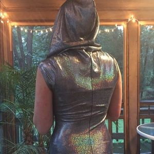 d0e1b12ce04 Coquetry Clothing Tops - Holographic futuristic space spandex onesie romper